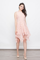 CROCHET EYELET ZIG ZAG HEM DRESS IN PEACH