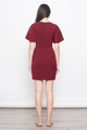 FLUTTERSLEEVE SHIFT DRESS IN BURGUNDY