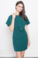 FLUTTERSLEEVE SHIFT DRESS IN EMERALD