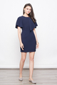CORRIE FLUTTERSLEEVE SHIFT DRESS IN NAVY
