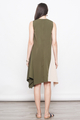 TAKARA COLOURBLOCK ASYM TUNIC IN OLIVE