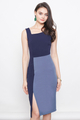 DERRENE SLANTED NECKLINE COLOURBLOCK SHEATH DRESS IN NAVY