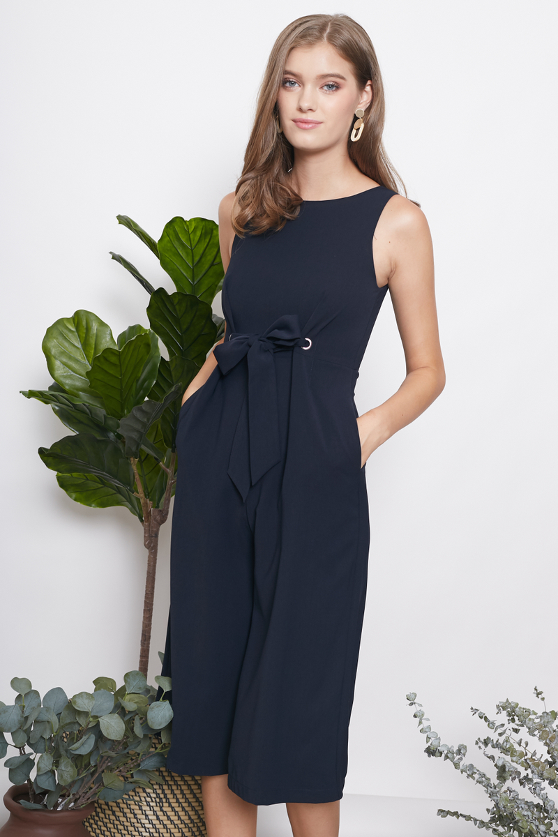 49529a3e7a0 INTQ LABEL* LILITH TIE WAIST JUMPSUIT IN NAVY | Intoxiquette
