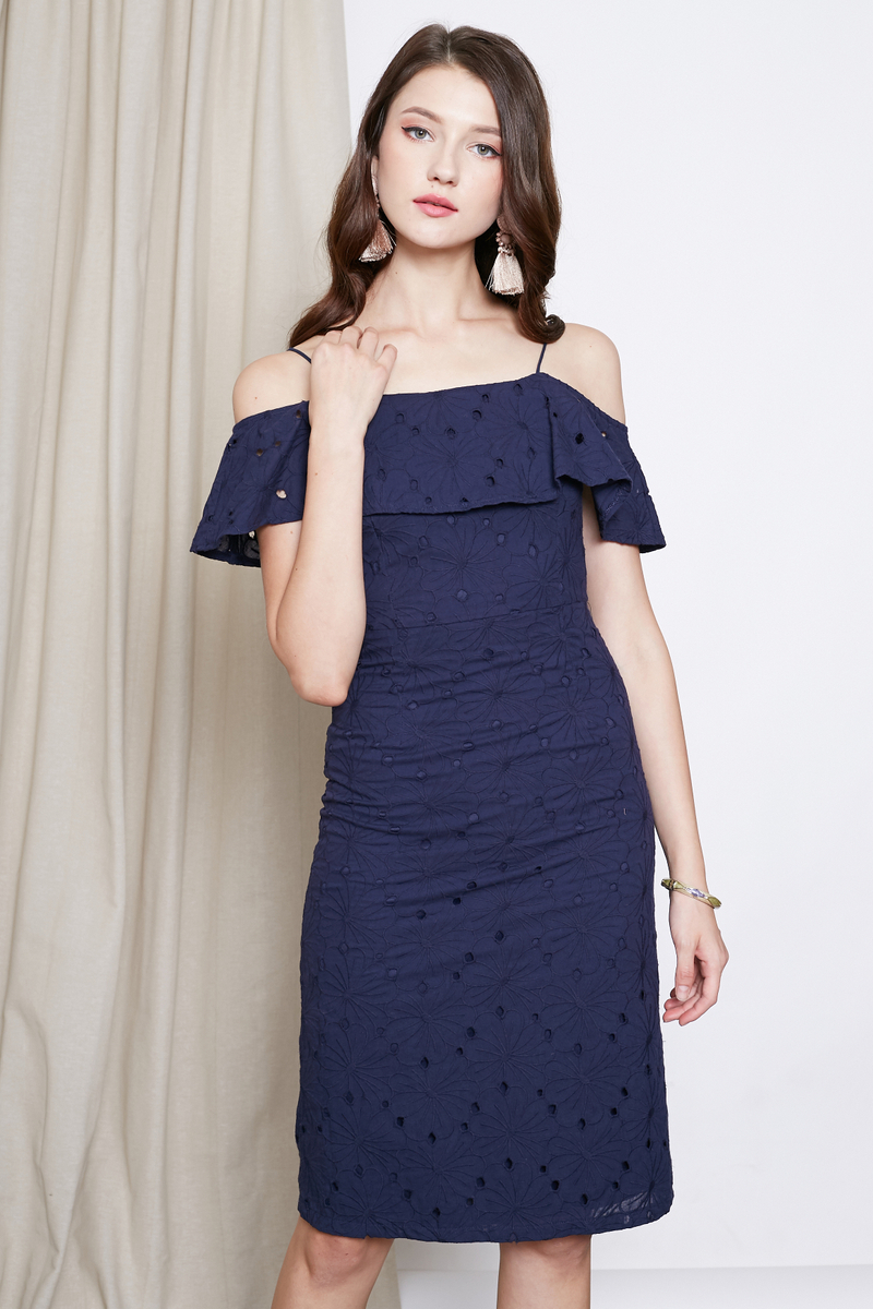 eyelet ruffles shiftdress