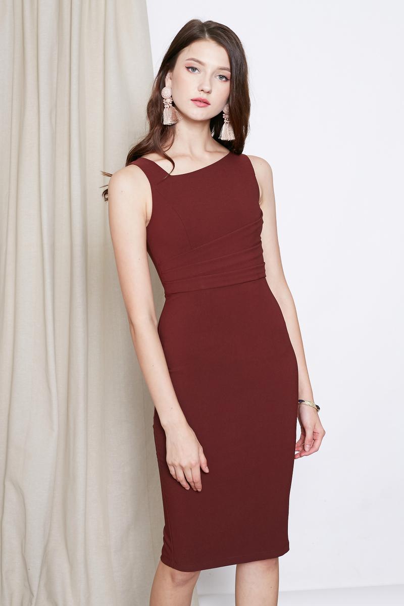 511666c1dc9 SELINE PENCIL SHEATH DRESS IN MAROON