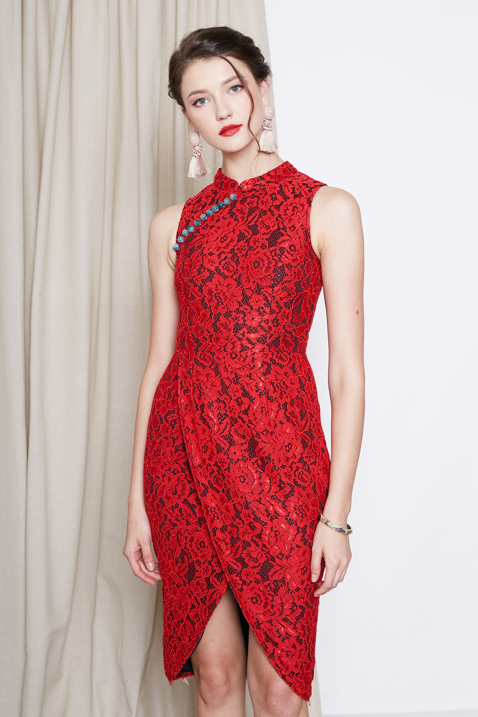 a21f9888e CIXI LACE TULIP CHEONGSAM IN RED