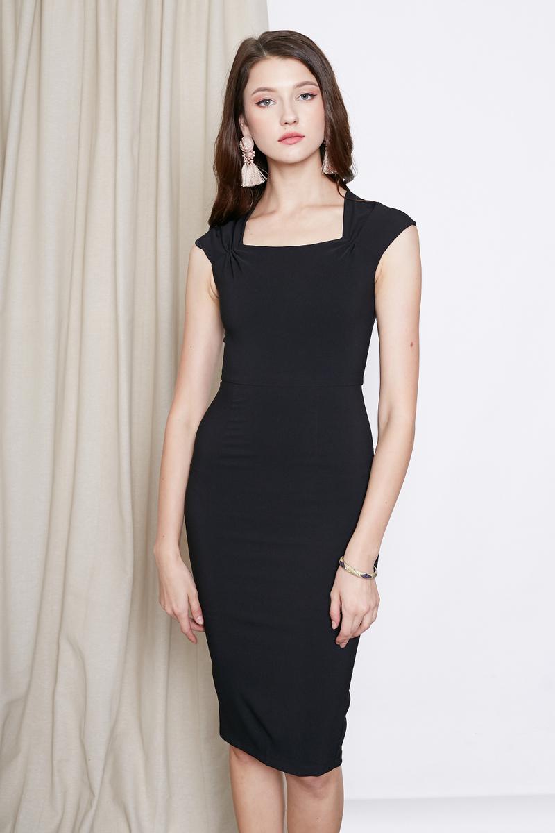 INTQ LABEL* TOVA SQUARE NECK CAPSLEEVE DRESS IN BLACK | Intoxiquette